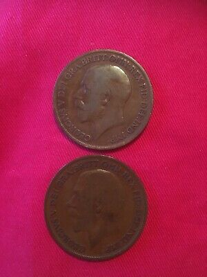 1918kn George V penny x 2 . Good condition