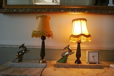 pair of small french bedside lights and alarm clock