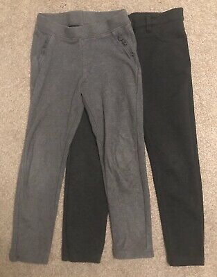 2 X Pairs Girls Grey School Trousers - Age 7 - Good Condition, 1 X Next