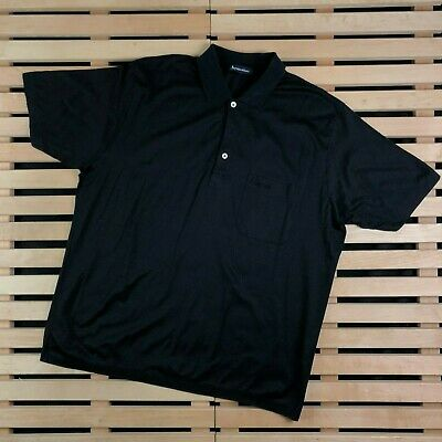 Mens Polo T Shirt Aquascutum Size XL Black