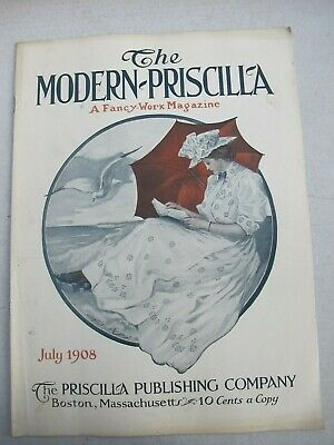 The Modern Priscilla Magazine July 1908, Woman Reading at Seaside With Umbrella
