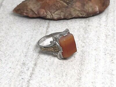 Osbee Ostby & Barton Art Deco Sterling Silver Gold Filled Agate Small Ring - S 7