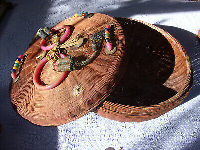 Antique Chinese Sewing Basket Peking Glass Beads Bangles Tassels Asian Coins