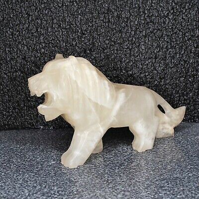"Vintage Carved Onyx Stone Lion Statue figurine 8"" Inches Long 4.25"" tall"