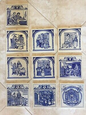Lot of 10 Burroughs Wellcome Pharmacy Delft Pill Tile Set  1984-1993