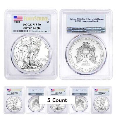 Lot of 5 - 2020 1 oz Silver American Eagle $1 Coin PCGS MS 70 FS (Flag Label)