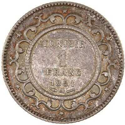 Raw 1891-A Tunisia 1 Franc Uncertified Ungraded Silver Tunisian Coin