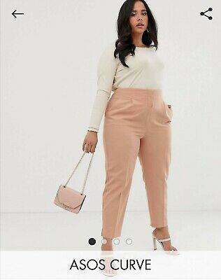 ASOS Curve High Waisted Trousers in Dusky Pink, Size 16, Brand New with Tags