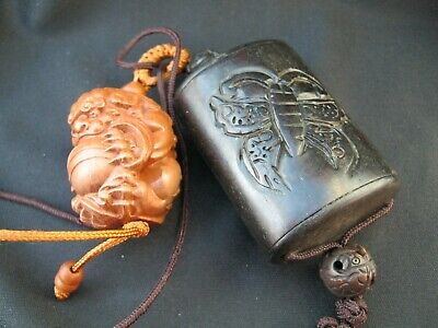 Beautiful Carved Inro With Butterfly Carving & Wood Netsuke Of A Shishi Lion Dog