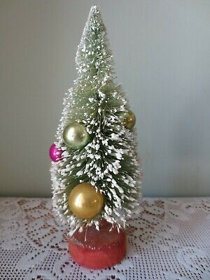 Vintage Bottle Brush Flocked Christmas Tree With Mercury Ornaments Made in Japan