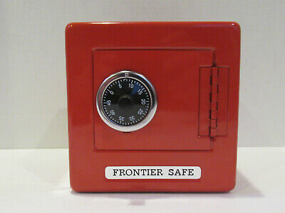 Red Frontier Safe Combination Lock Coin Bank Metal Tin Box - VINTAGE