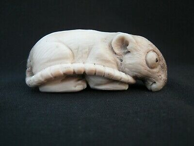 Unusual Hand Carved Rat Okimono Statue Made From Red Deer Antler