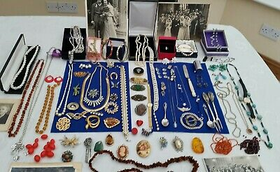 Job lot of solid silver & antique,vintage-costume jewellery ,carol, amber, boxes