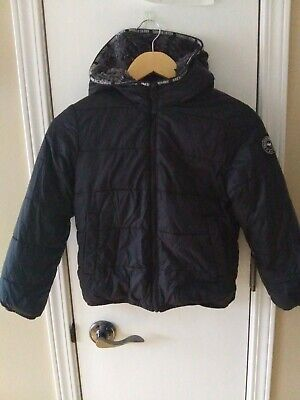 ABERCROMBIE & FITCH Kids Girls Black Puffer Jacket with Hood Size 78 EUC