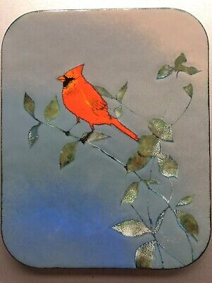 Vintage SIGNED EREN CANADIAN ENAMEL COPPER ART PLAQUE PAINTING Cardinal bird