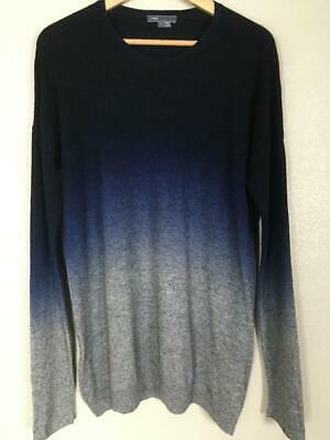Vince Sweater Ombre Thin Knit Crew Neck Top Navy Gray Cashmere blend Men's M