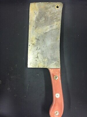 "Antique Hand Forged Meat Cleaver 14"" ~4 Lbs Very Heavy Thick Primitive Rare"