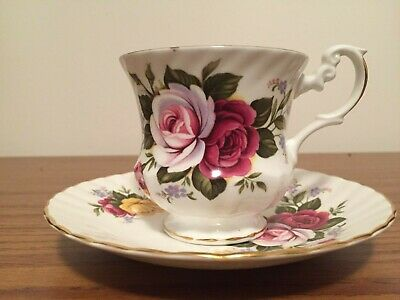 Royal Dover Bone China England Roses Pattern Tea Cup and Saucer