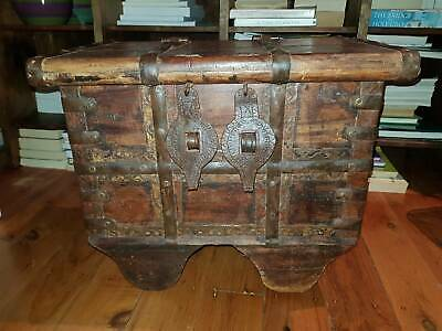 Antique Indian (Indonesian?) Dowry Chest Primitive on Wheels Rare