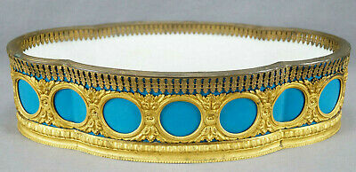 19th Century French Sevres Style Quatrefoil Turquoise & Gilt Ormolu Centerpiece