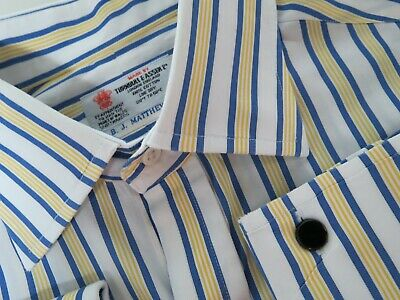 Turnbull Asser made in England Stripe Mother Of Pearl Dress shirt 16 1/2