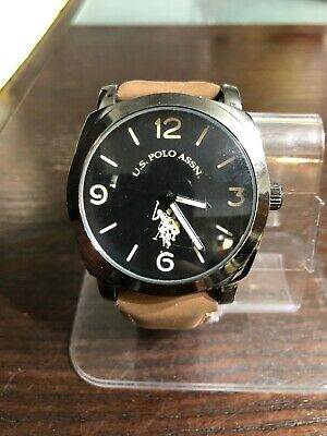 US Polo Assn Mens Us50391 Black Brown Strap Watch #38