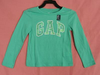 GAP Girls Embellished Sequin Arch Logo Long Sleeve Tee T-Shirt Top, XS 4-5, NEW
