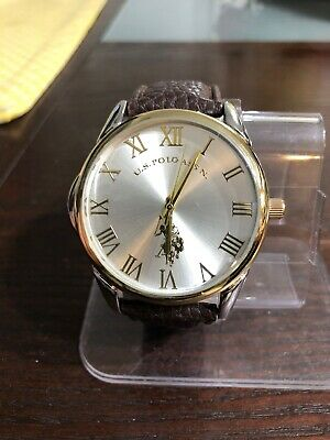US Polo Assn Mens Usc50307 Two Tone Brown Strap Watch #53