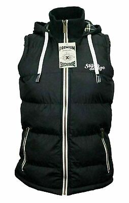 Womens  Full Zip Vest Hooded Puffer Warm Fleece Jacket For  autum Black Size 16-