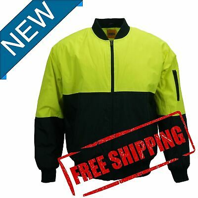 Hi-Vis Mens Safety Work Wear Yellow Water Proof Bomber Quilted Warm Jacket PPE--