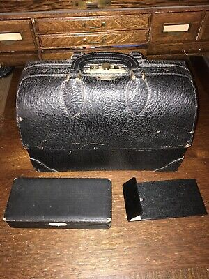 Vintage Emdee By Schell Black Leather Medical Doctors Bag Cowhide