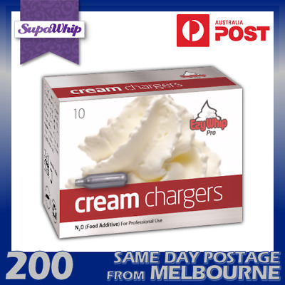 Ezywhip Pro Cream Chargers 10 Pack X 20 (200 Bulbs) Pure Nitrous Oxide Whipper