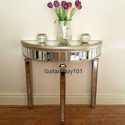 Half moon mirrored glass CONSOLE TABLE aged champagne finish Art Deco style