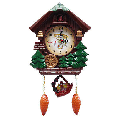 Antique Style Wall Clock Cuckoo Bird Alarm Crab Trees Hanging Wood, Battery