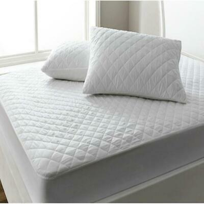 Quilted Mattress  Protector Topper 100% Cotton Single Double Super King Size