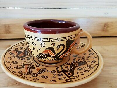 Vintage Tea cup and saucer set- Hand painted in Greece