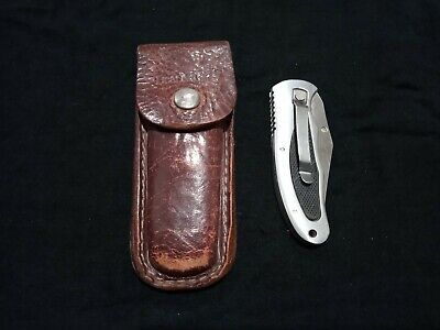 Vintage Knife Pocket Folding Combination Blade with Leather Pouch