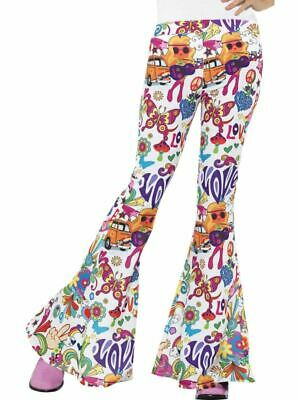 Ladies 1970s FLARES Costume Adult Disco Sequin Flared Trousers Bottoms /& Belt UK