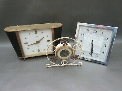 Job lot of 3 vintage mantle clocks for restoration or parts