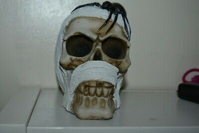 Latex Mould Mold Of A Bandaged Skull With A Spider 13 X 10 X 8Cms