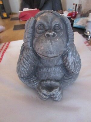 """Thick latex mould/mold of a """"Hear No Evil"""" wise monkey 5.5"""" x 4"""" x 5"""""""
