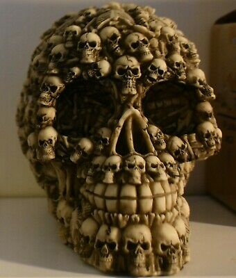 LATEX MOULD MOLD OF A LARGE SKULL OF SKULLS 14CMS X 10CMS X l0CMS