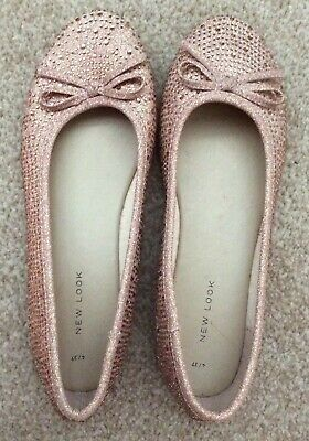 New Look Ladies Girls Neutral Sparkly Shoes Ballet Pumps Size 4 - NEW