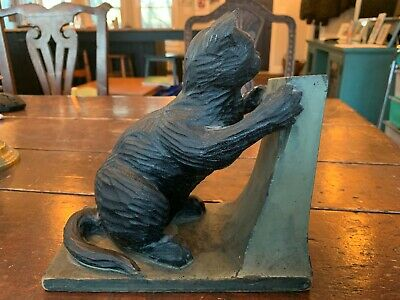 Wonderful Antique Carved Wood Statue of Cat Clawing Post