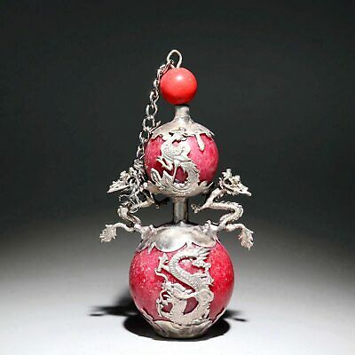 Collect Old Tibet Silver Carve Dragon & Phenix Inlay Agate Delicate Snuff Bottle