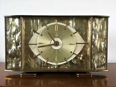 METAMEC Retro Art Deco Style Eye Shaped Matel Clock in Brass/Perspex with Pearl