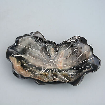 Collect China Old 0x B0ne Hand Hand-Carved Bloomy Lotus Shape Bring Luck Dish