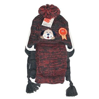 Kids Knit Beanie Hat, Scarf And Gloves Set New