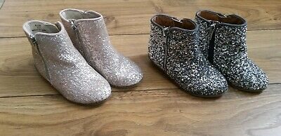 River Island Gold Girls Glitter Sparkle Party Chelsea Boots Shoes Infant Size 6