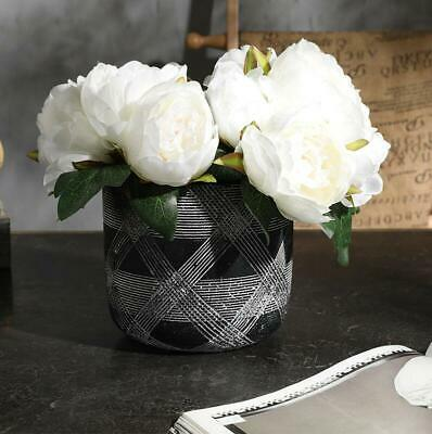 new 6heads Silk Fake Artificial Peony Flower Bouquet Wedding Party Home-white